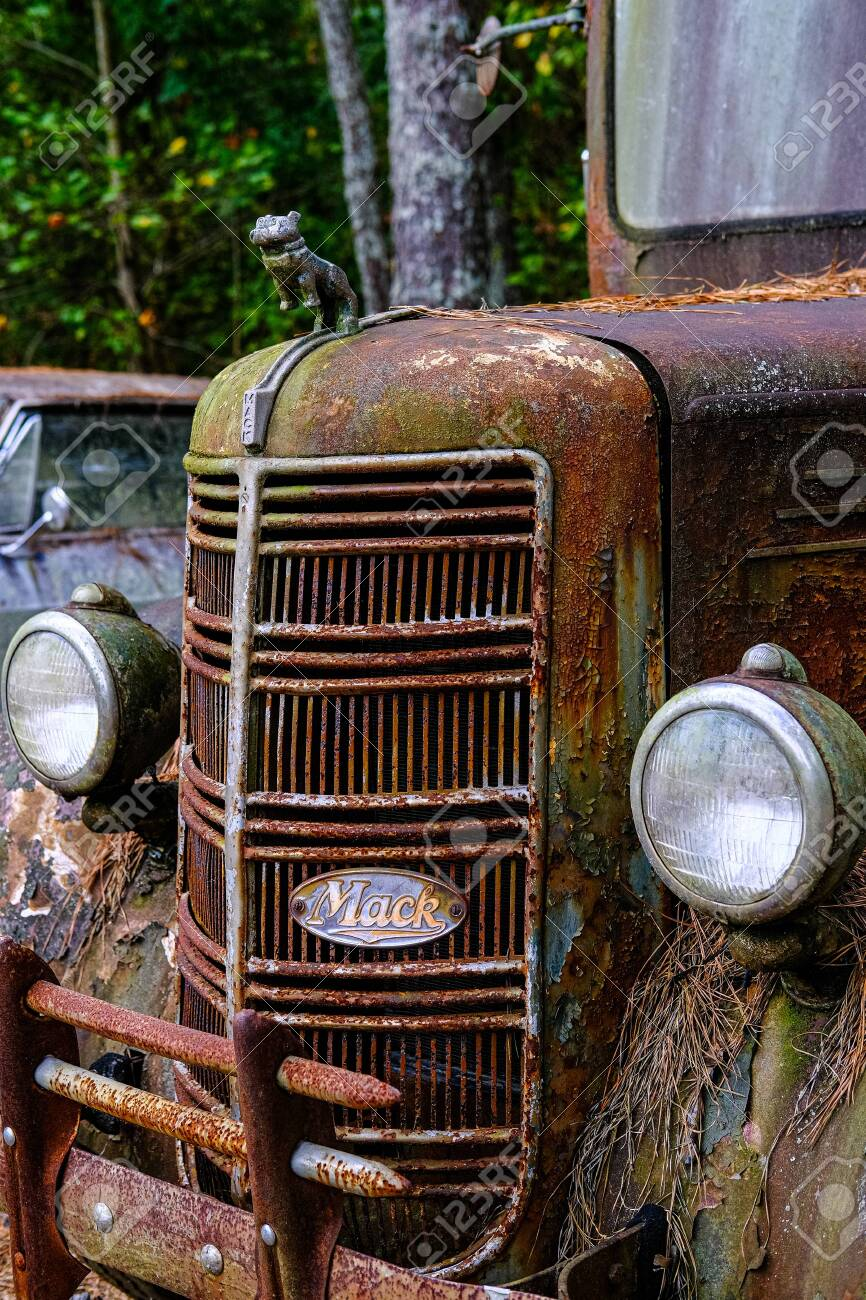 Grill of Old Mack Truck - 140655512