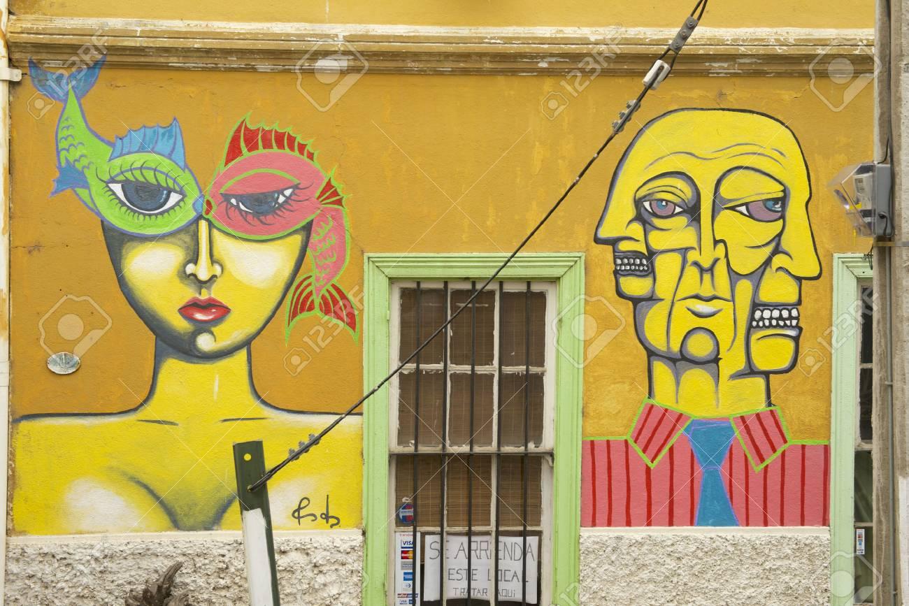 Valparaiso, Chile - October 19, 2013 : Colorful Graffiti Art.. Stock ...