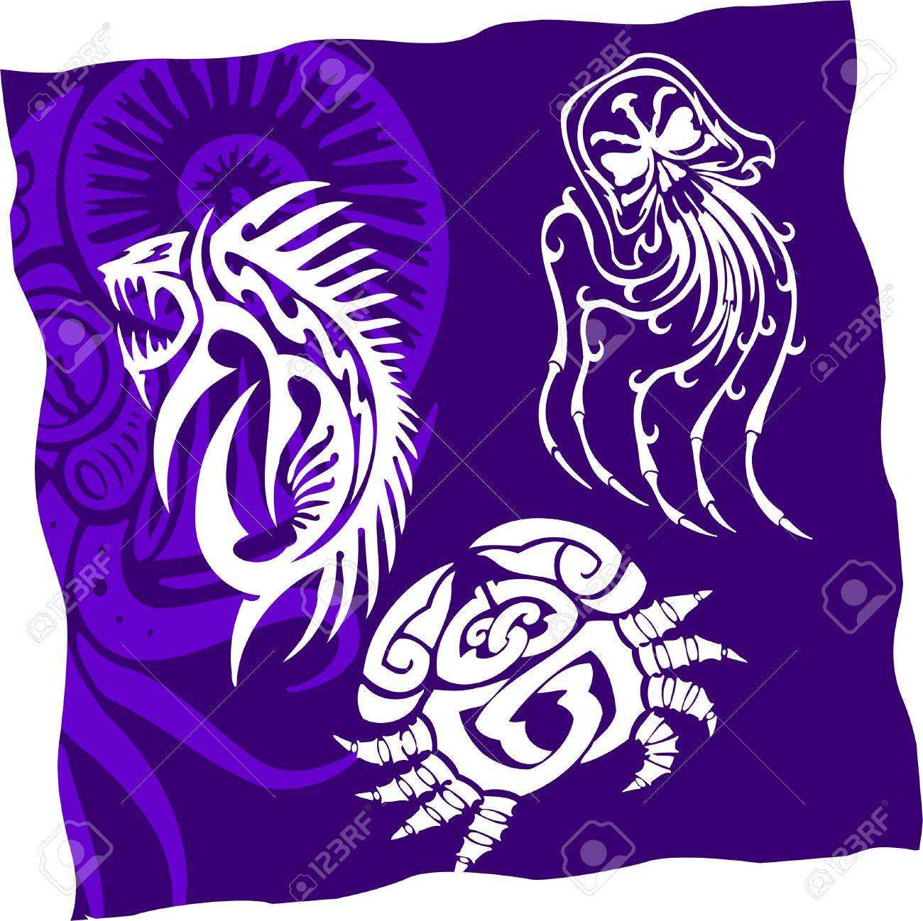 Tribal Water Monster.Vinyl Ready Stock Vector - 7322476