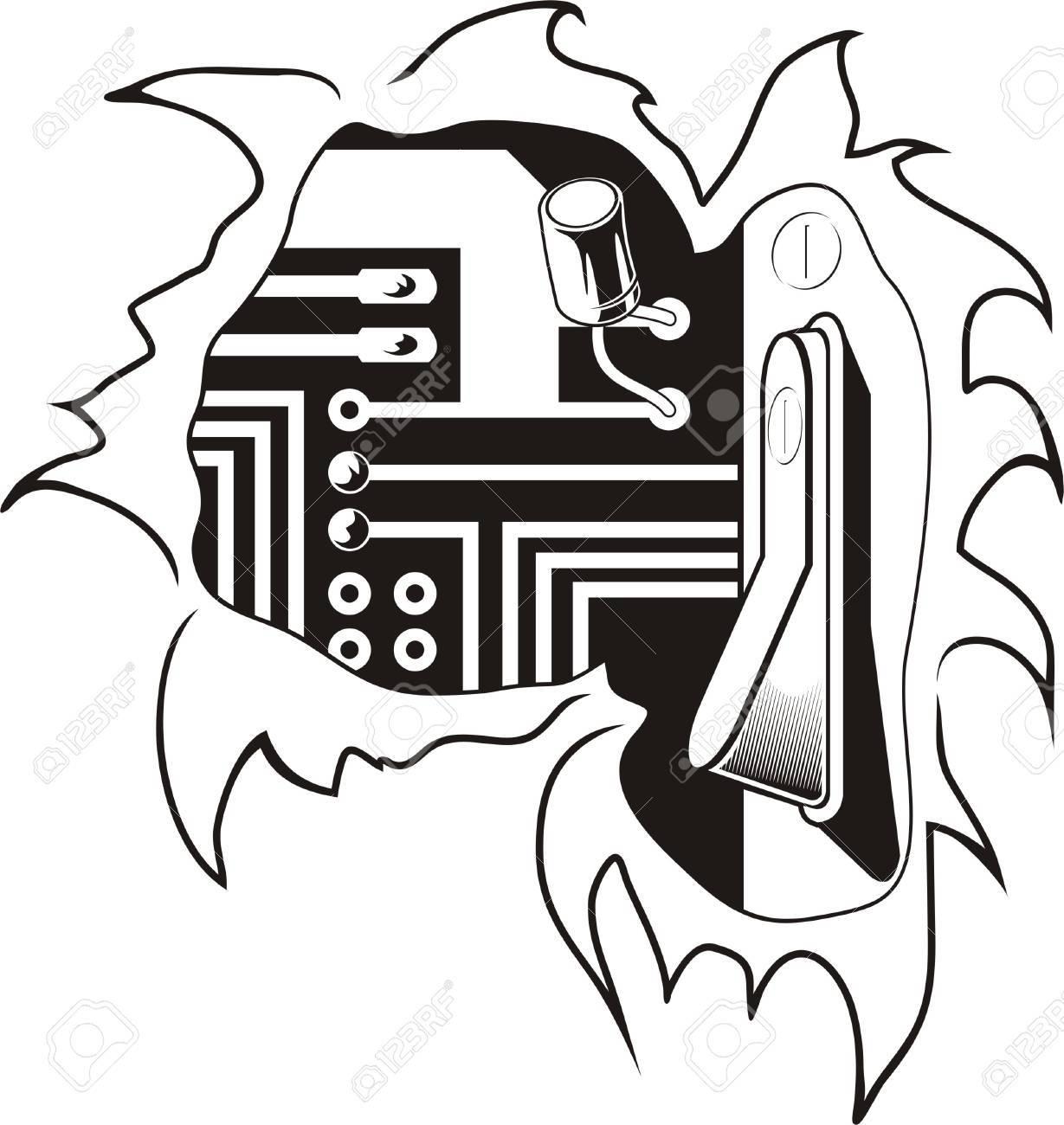 Biomechanics. Ready for vinyl cutting. Stock Vector - 7932390