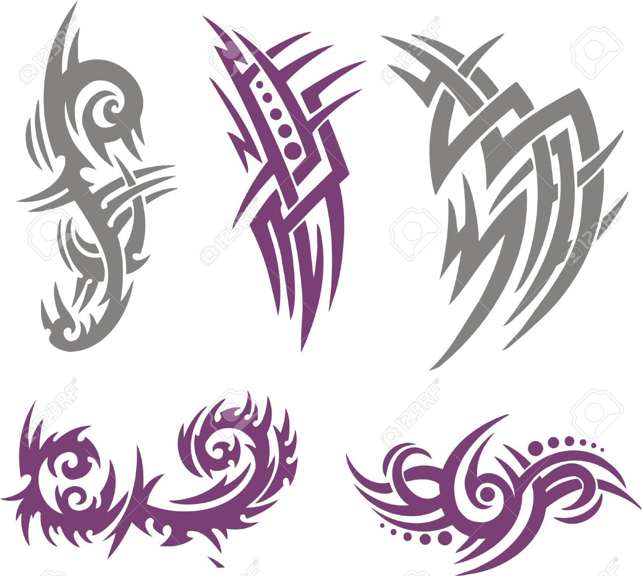 Tribal-Tattoos 8070180-Tribal-Tattoo-Set-Vector-Illustration-Collection-Stock-Vector-design