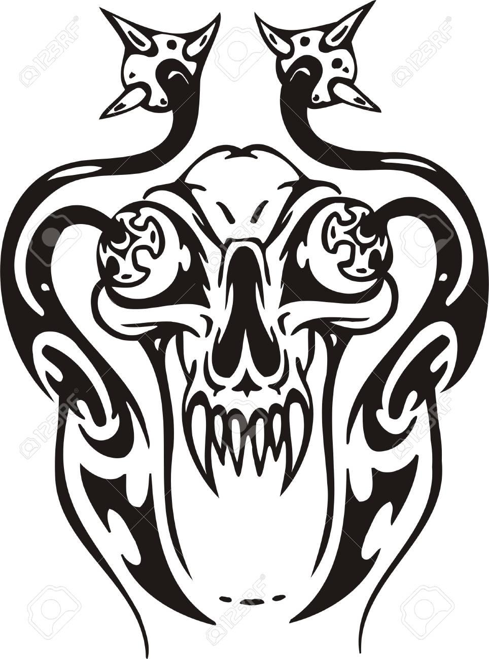 Cyber Skull - illustration. Ready for vinyl cutting. Stock Vector - 8132130