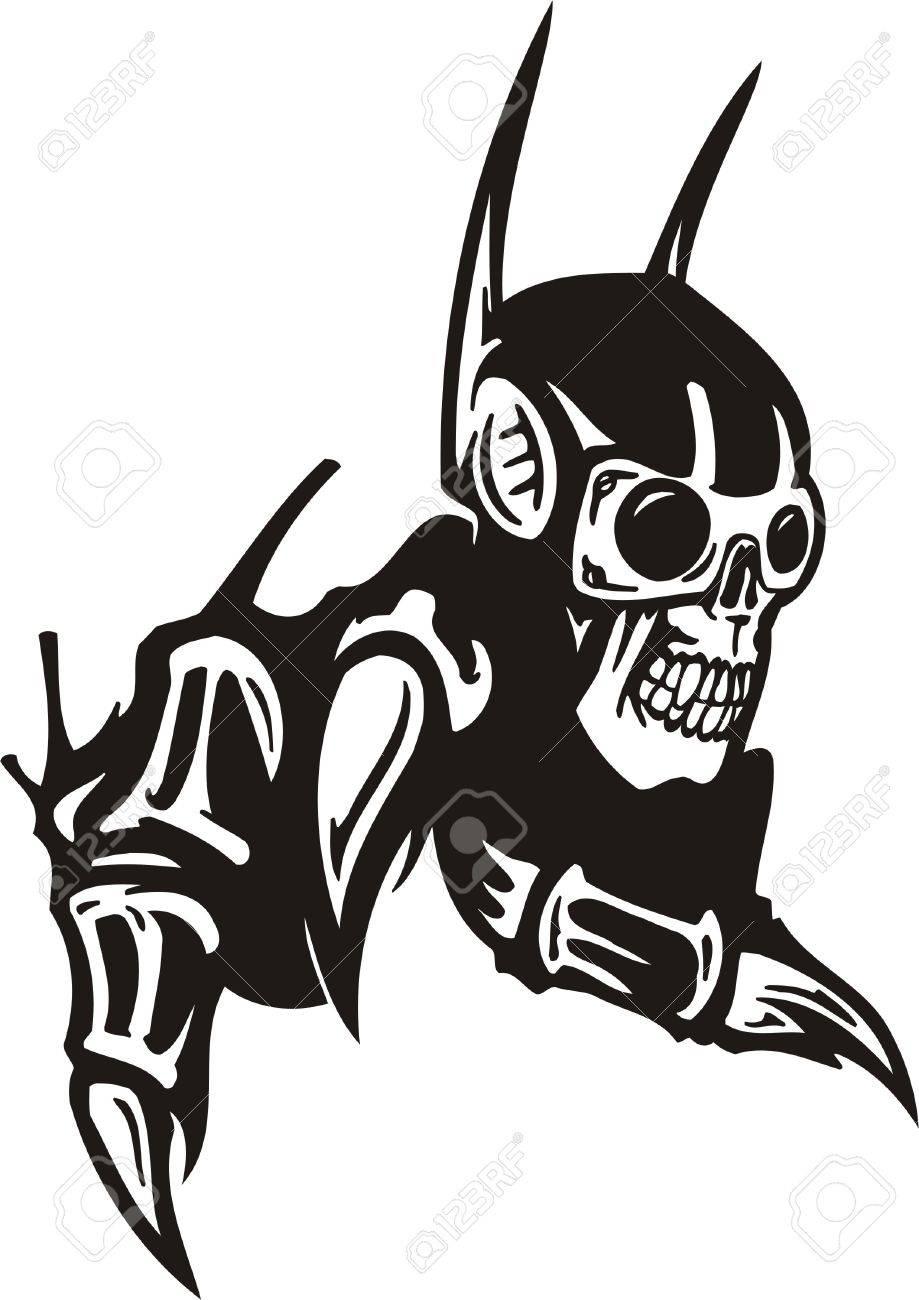 Cyber Skull - illustration. Ready for vinyl cutting. Stock Vector - 8132185