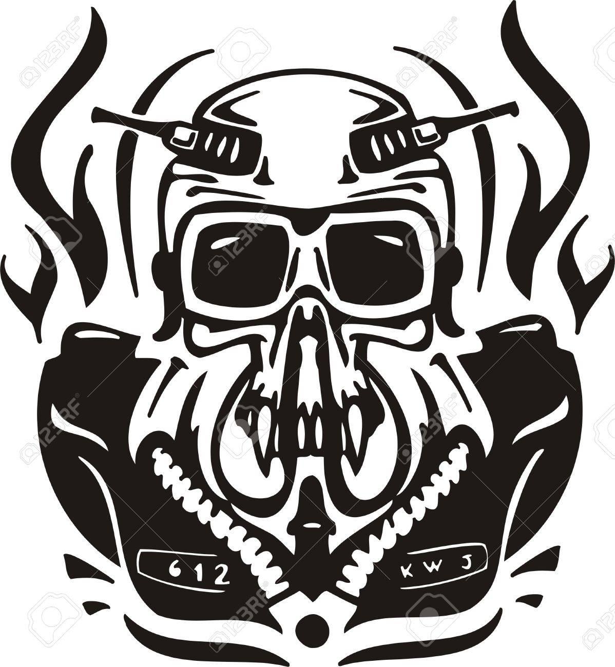 Cyber Skull - illustration. Ready for vinyl cutting. Stock Vector - 8132085