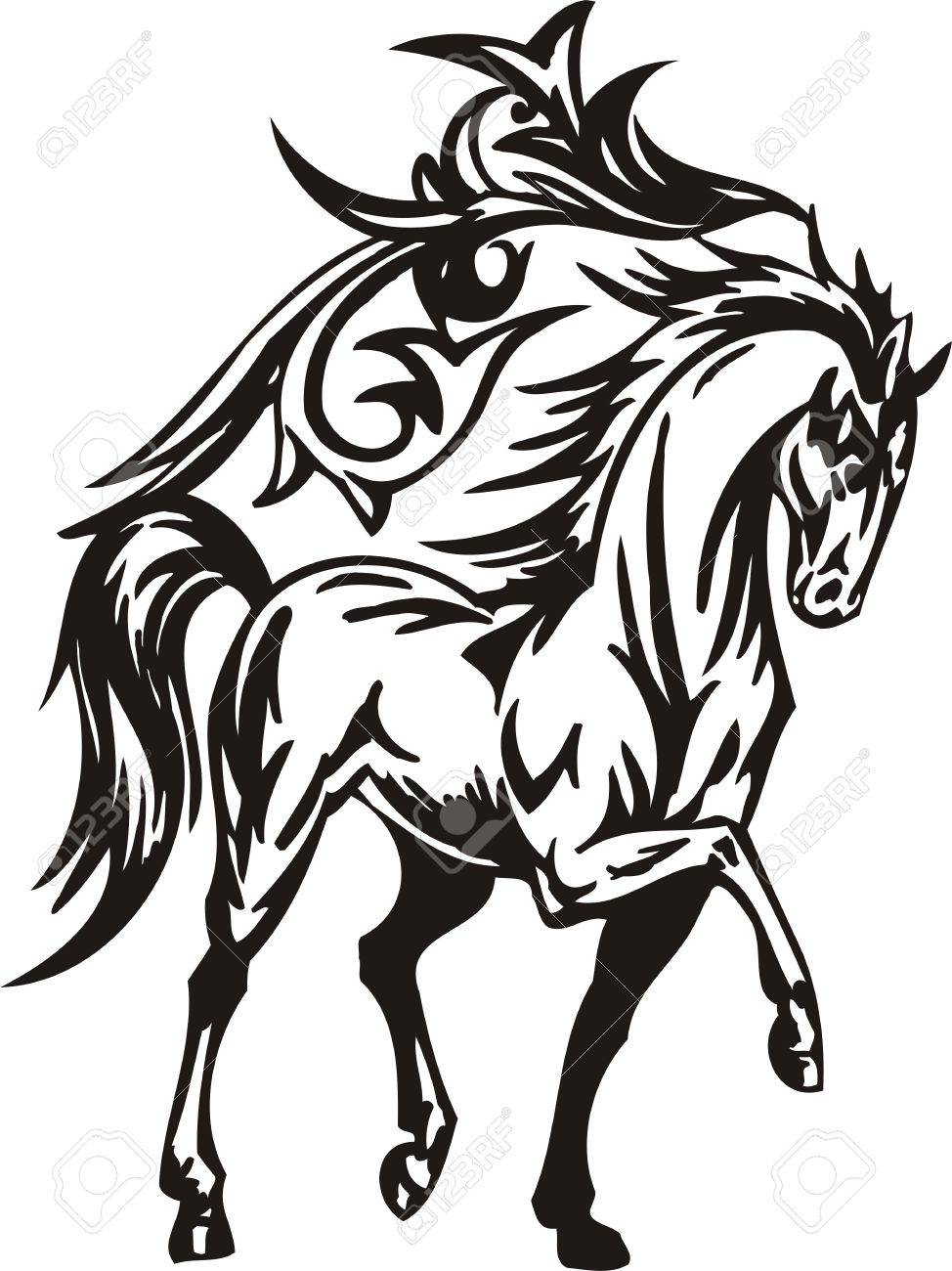 Horse illustration ready for vinyl cutting. Stock Vector - 8199830