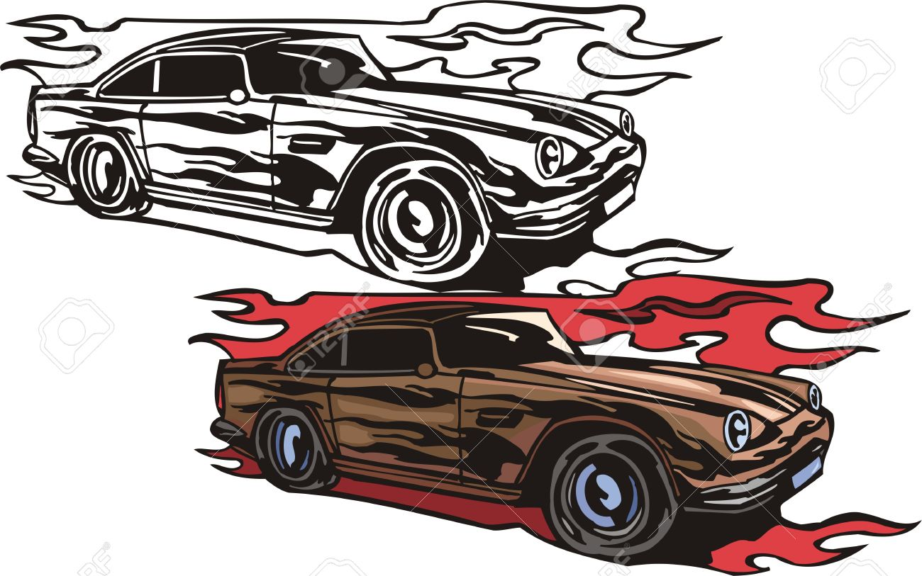 The brown racing car with black vinyl. Flaming hotrods.  illustration - color   b/w versions. Stock Vector - 8268962