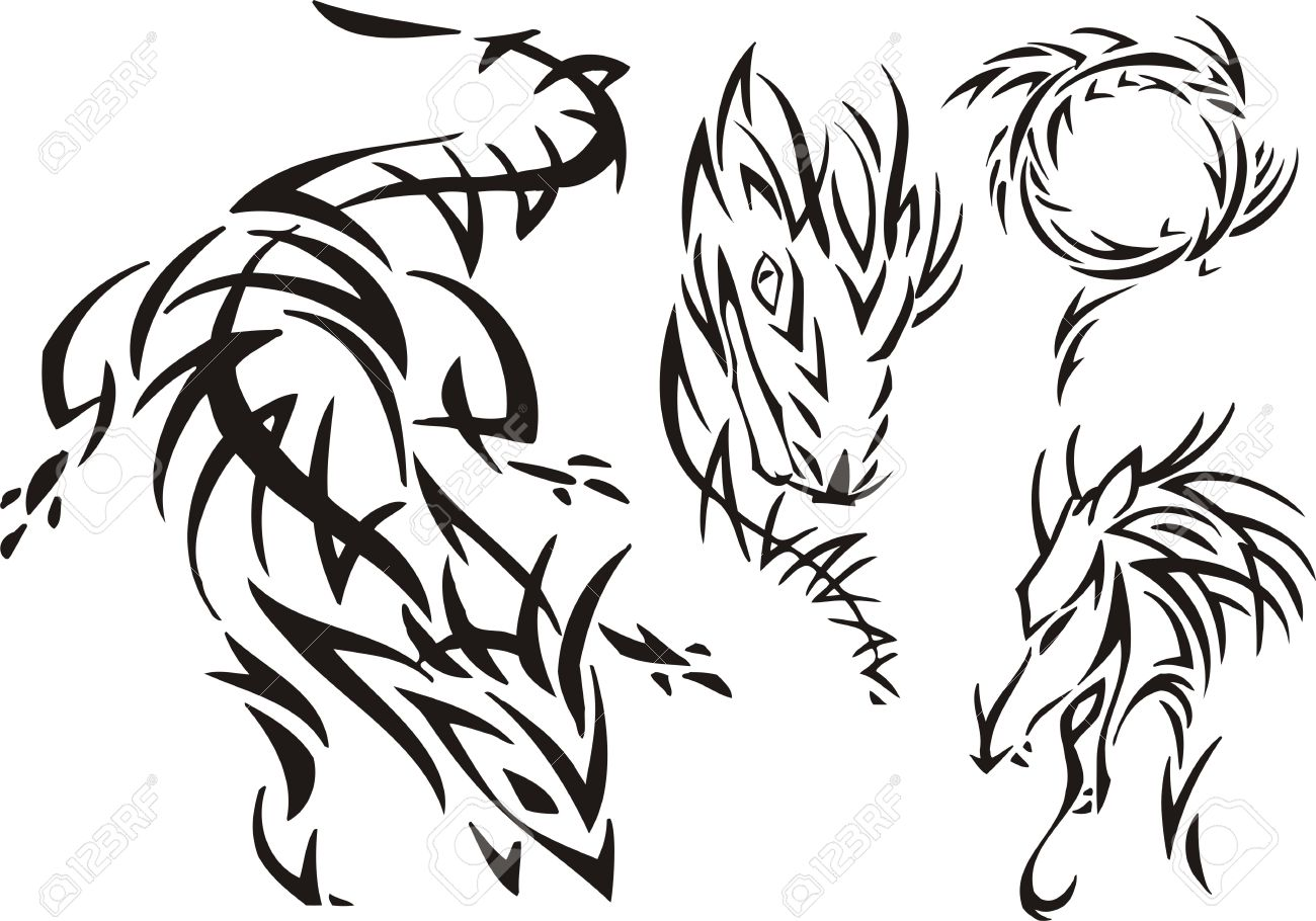 The horned dragon pursues prey. Tribal dragons. Vector illustration ready for vinyl cutting. Stock Vector - 8437731