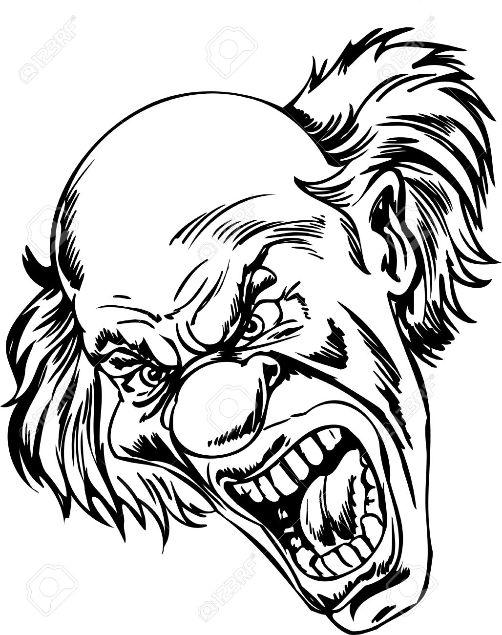 scary clowns vector illustration ready for vinyl cutting royalty