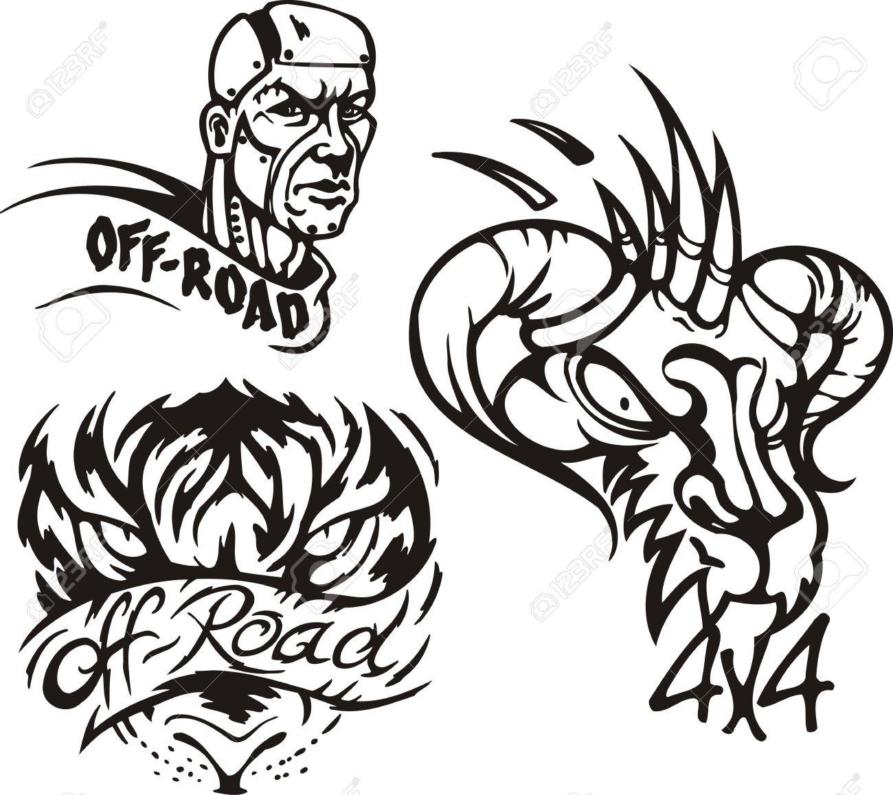 Eagle owl, the horned monster and the zombie. Off-road symbols. Vector illustration ready for vinylcutting. Stock Vector - 8447723