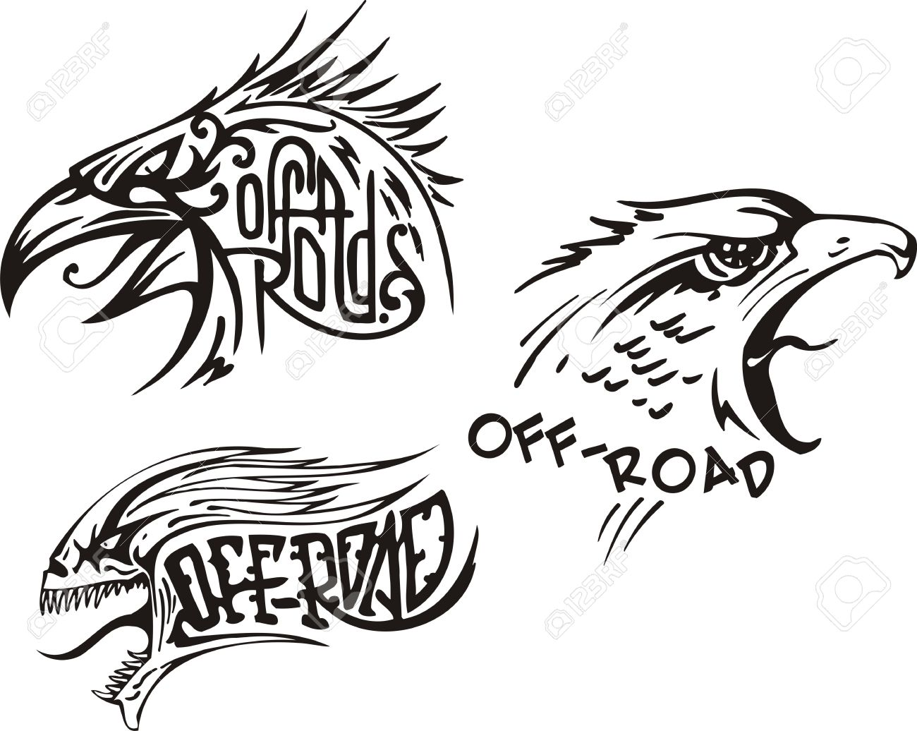 Eagle, the goshawk and a skull. Off-road symbols. Vector illustration ready for vinylcutting. Stock Vector - 8447718