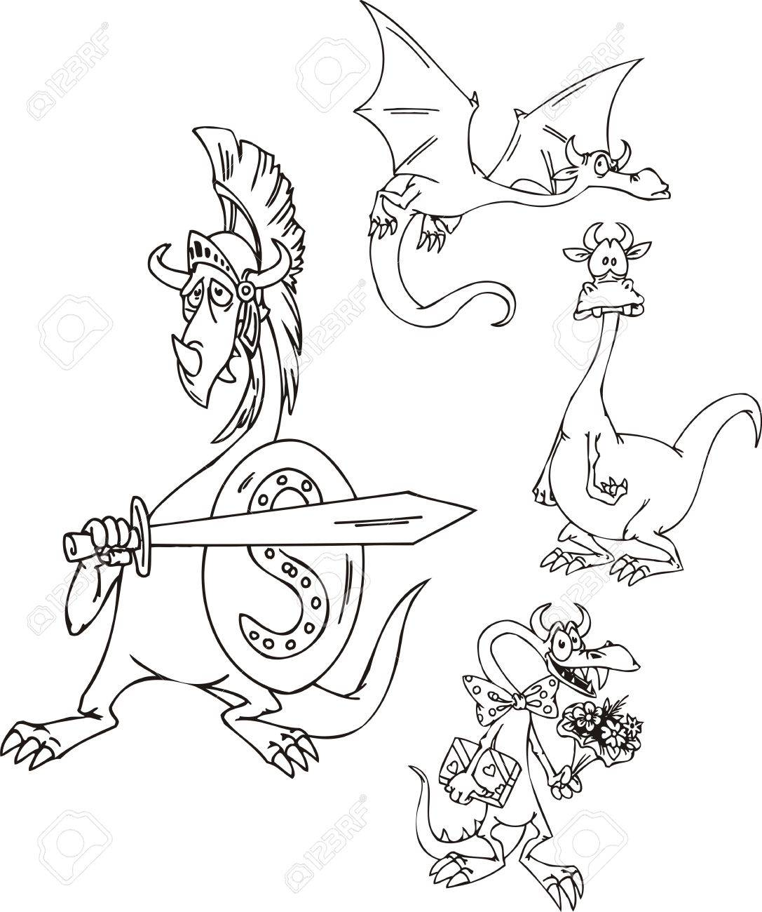Dragon with a sword, a dragon with flowers, a volant dragon. Funny dragons.   illustration ready for vinyl cutting. Stock Vector - 8570797