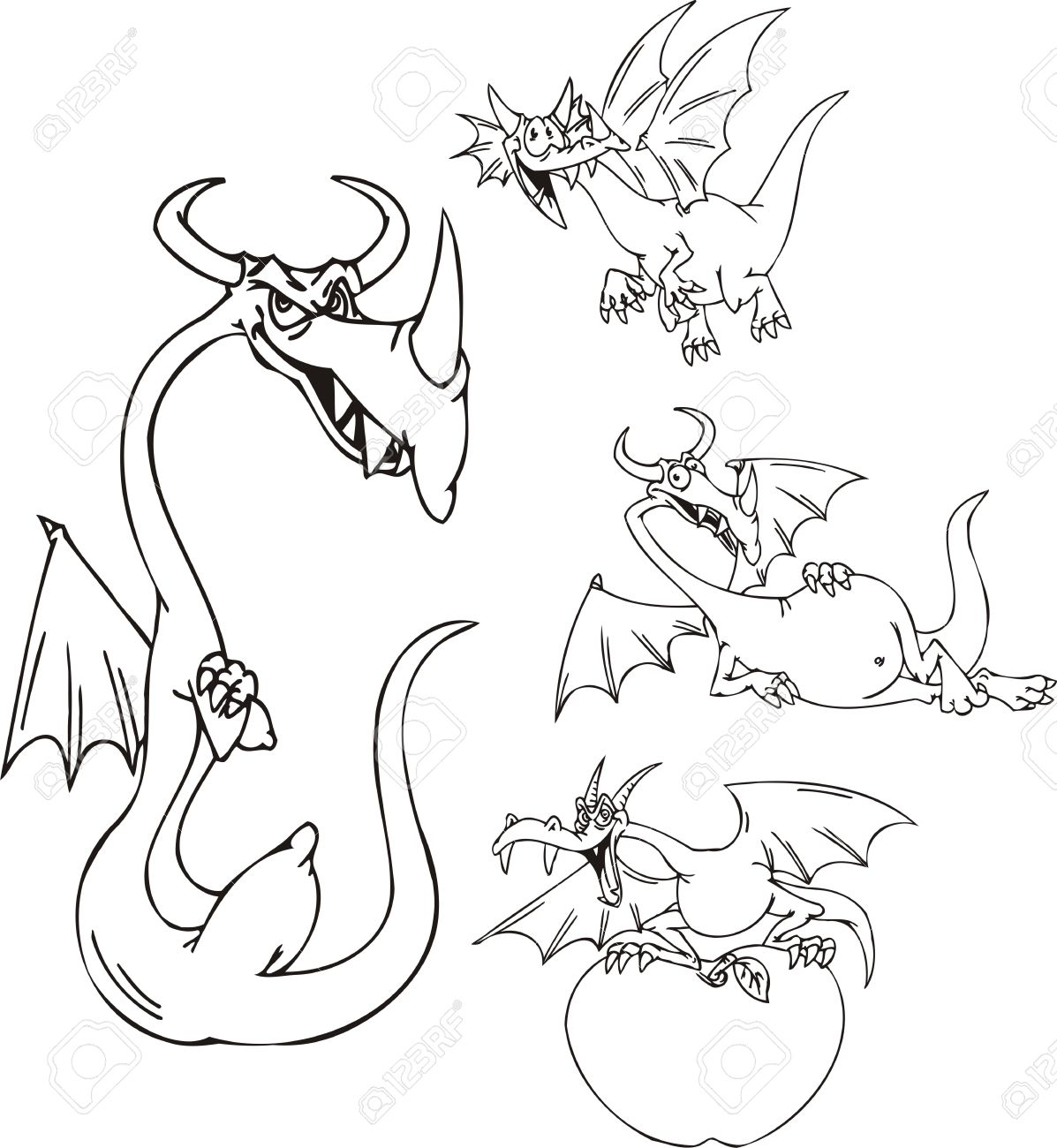 Thin dragon, dragon with the big apple, a big-bellied dragon. Funny dragons.   illustration ready for vinyl cutting. Stock Vector - 8570829
