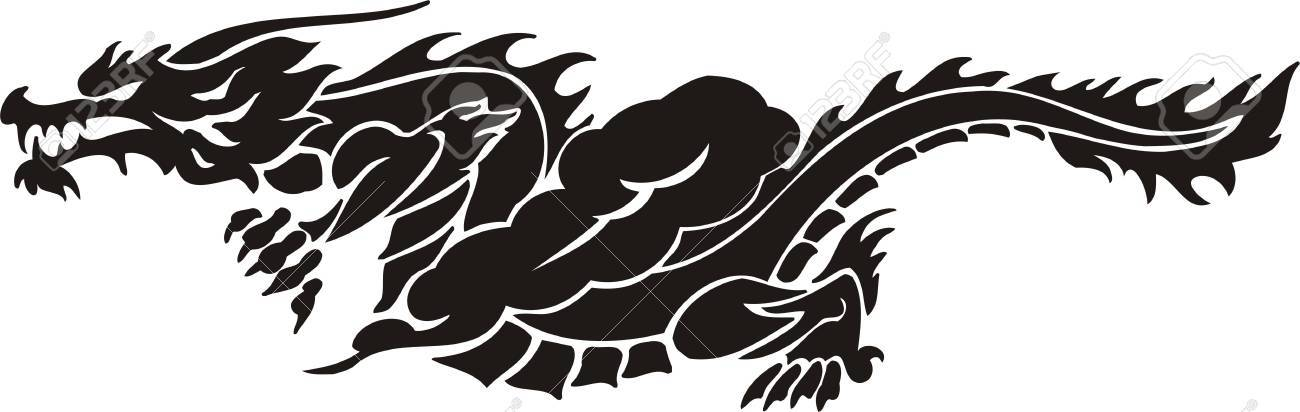 Horizontal Dragons.Vector illustration ready for vinyl cutting. Stock Vector - 8594268