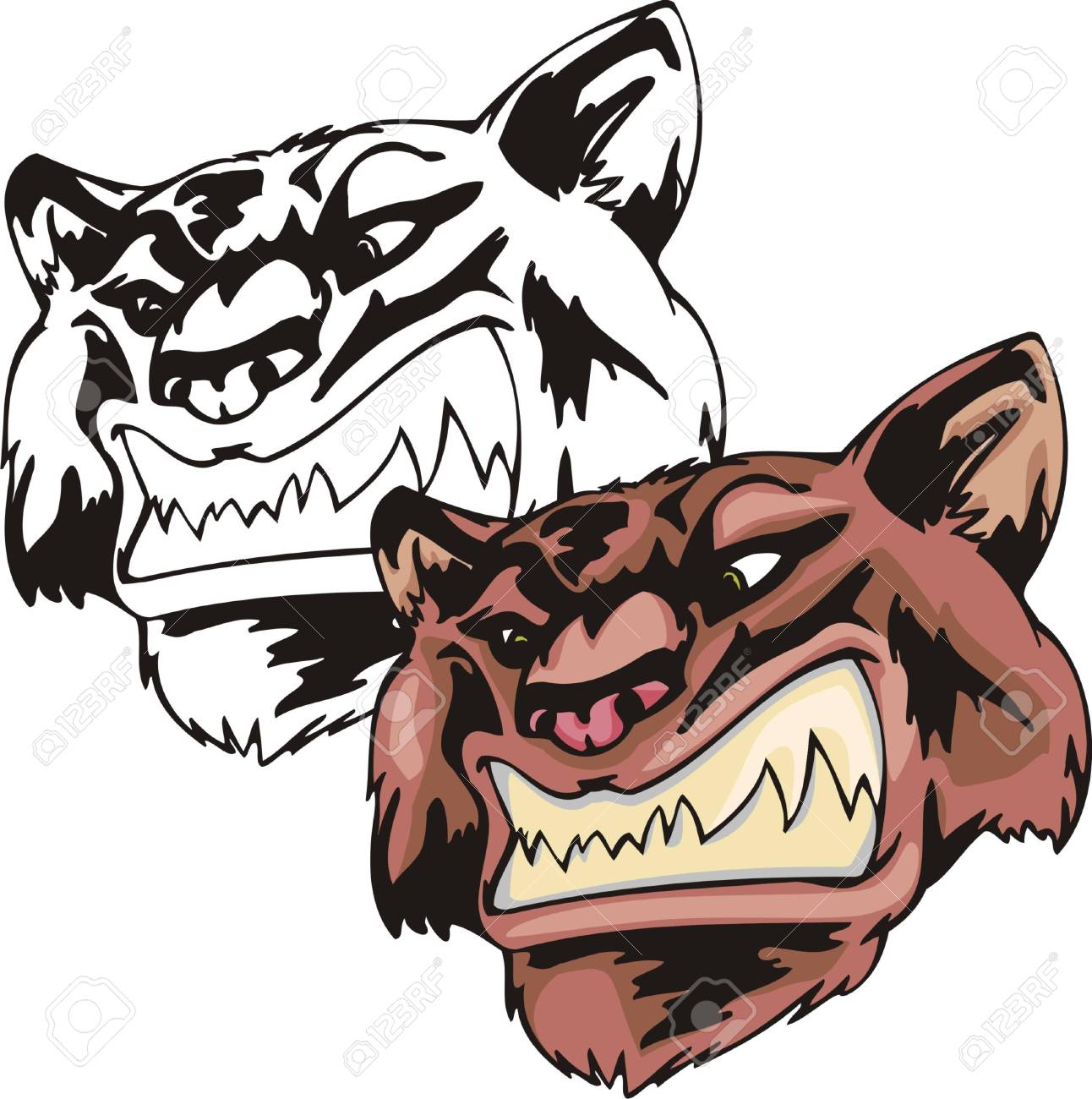 Wildcat with ravenous facial expression, hunts for victim. Mascot template. Vector illustration - color + b/w versions. Stock Vector - 8594691