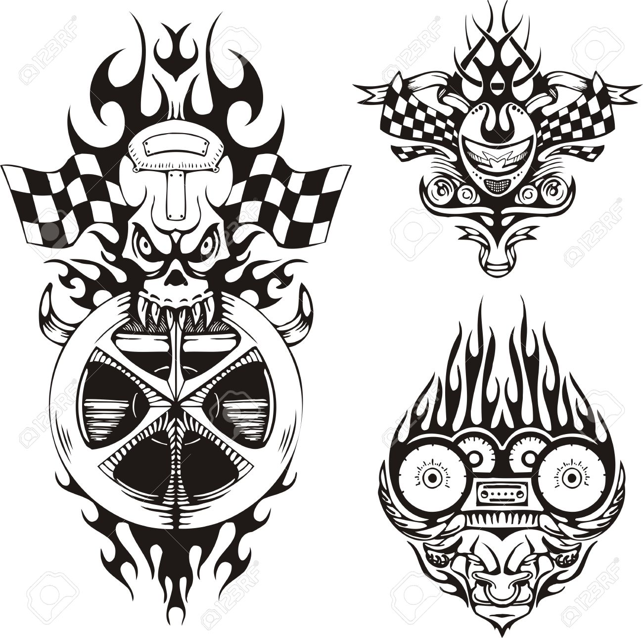 Skull with flags and a horned demon. Racing compositions. Vector illustration ready for vinyl cutting. Stock Vector - 8652308