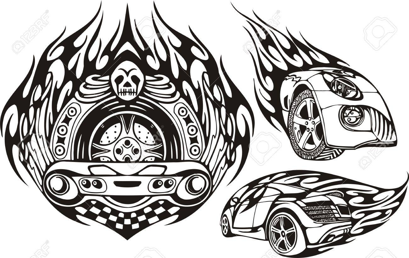 skull with a wheel and two cars racing compositions vector