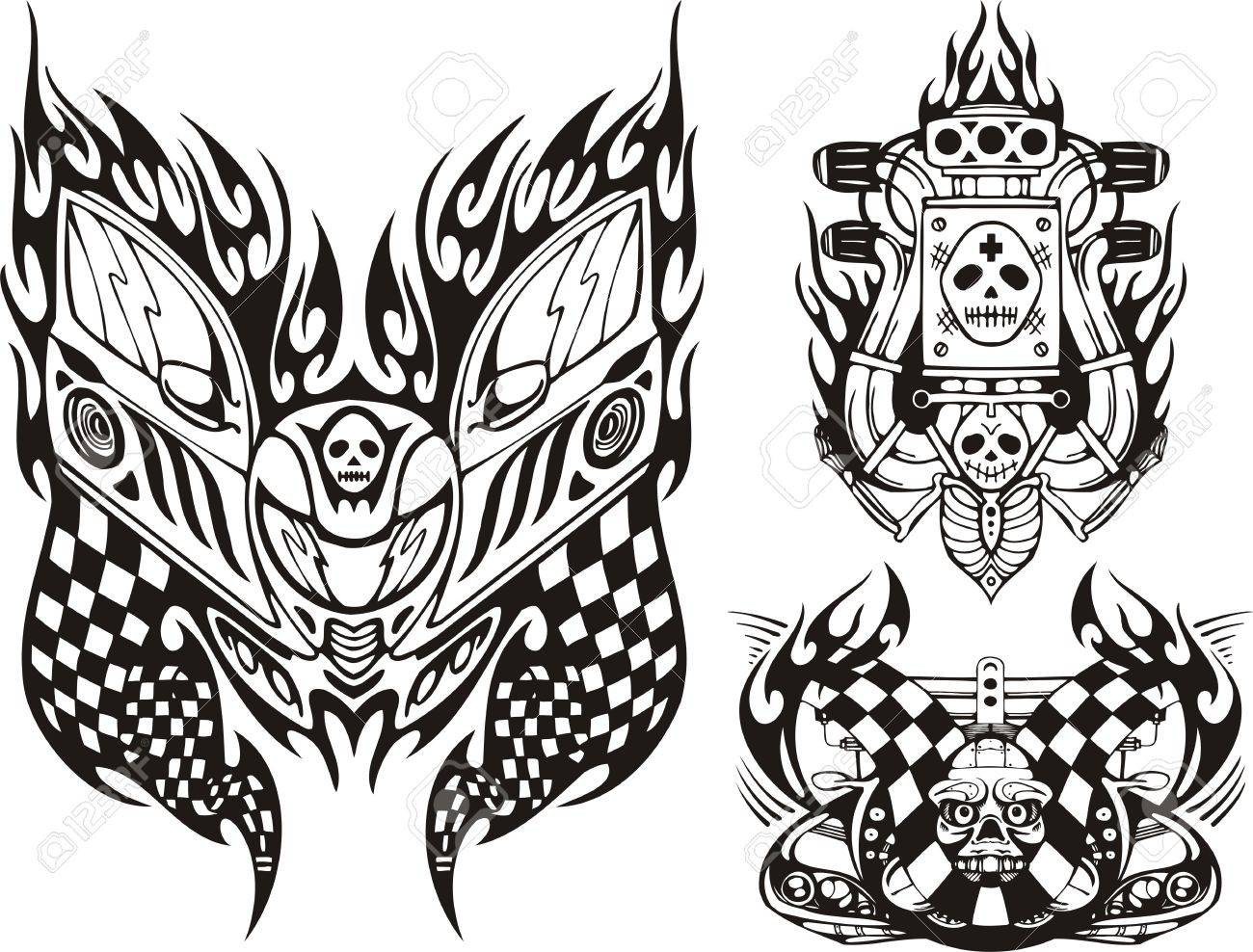 Skull with flags, a skull and the car motor. Racing compositions.   illustration ready for vinyl cutting. Stock Vector - 8652133