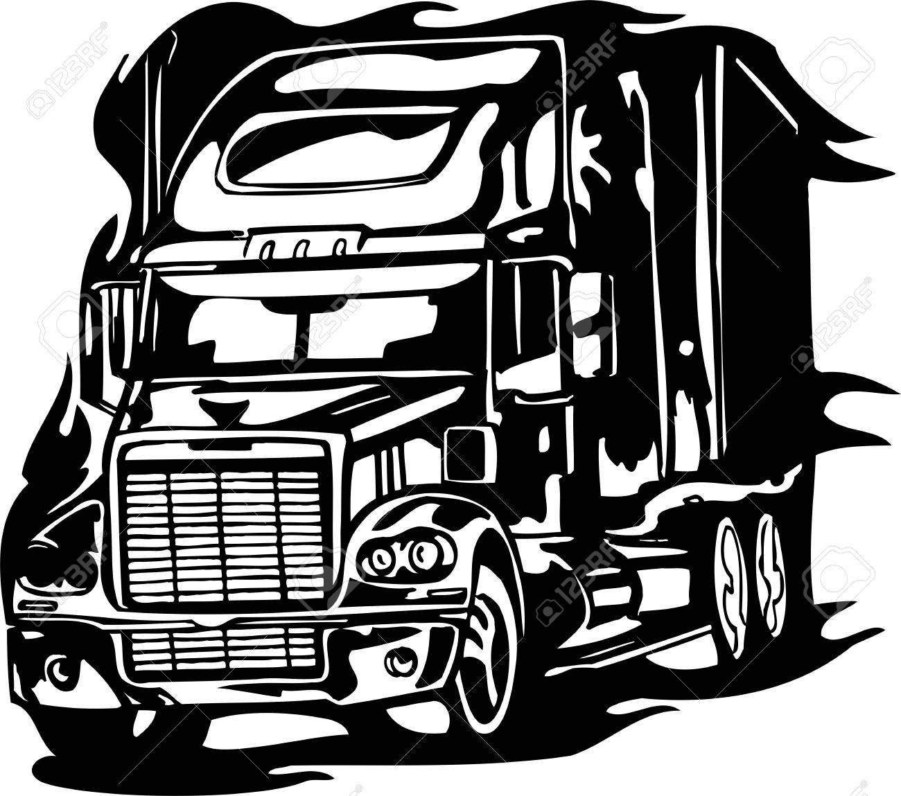 Racing Trucks with inclusion of a flames and tribal. illustration ready for vinyl cutting. Stock Vector - 8651063