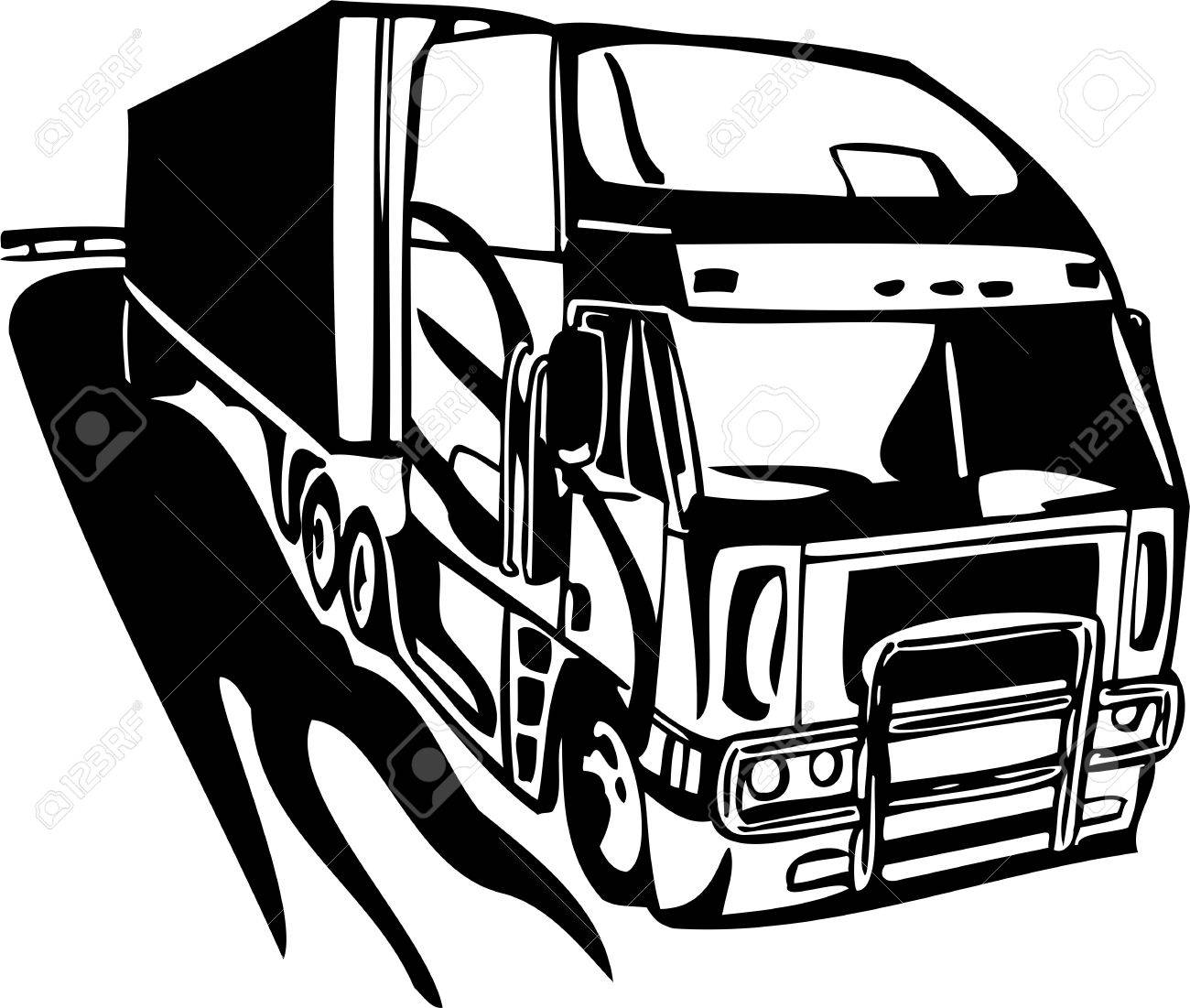 Racing Trucks with inclusion of a flames and tribal illustration ready for vinyl cutting. Stock Vector - 8651099