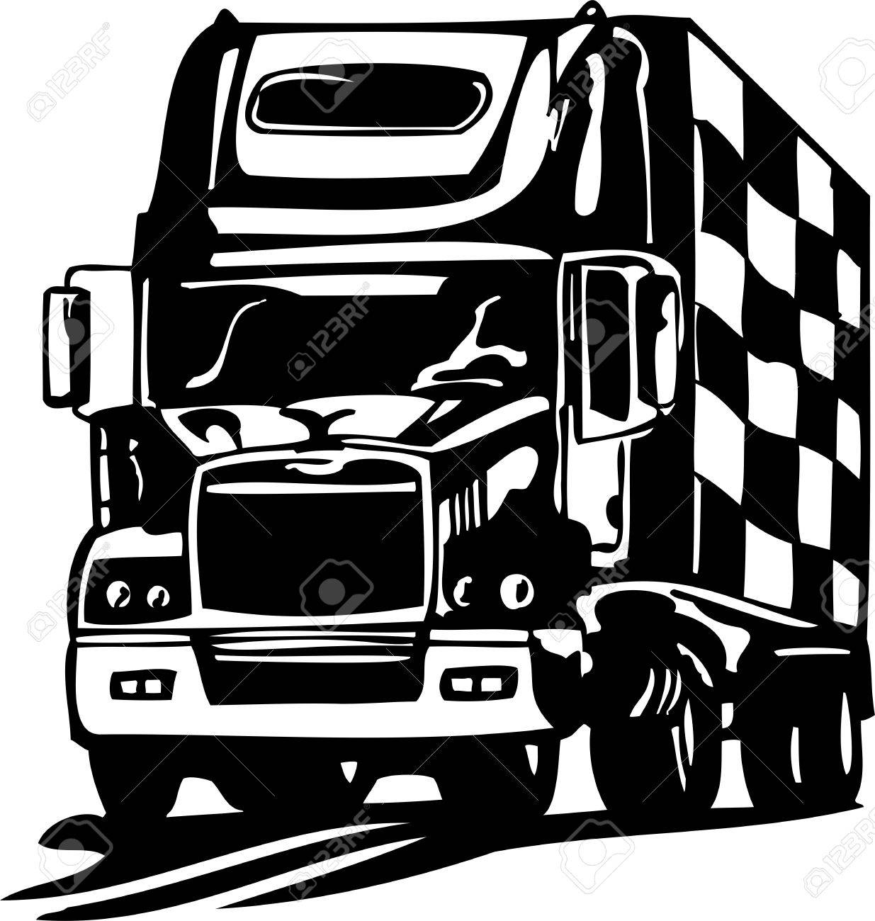 Racing Trucks with inclusion of a flames and tribal illustration ready for vinyl cutting. Stock Vector - 8651064