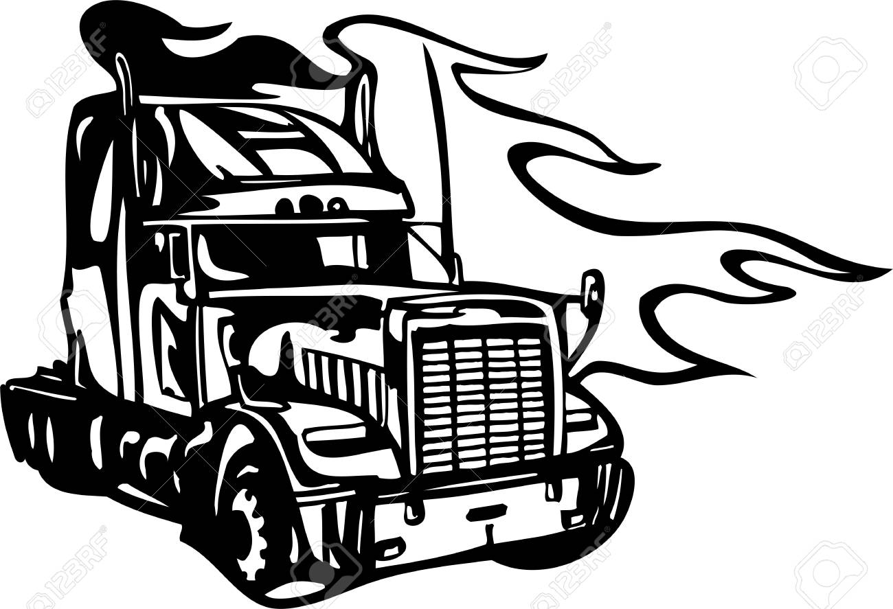 Racing Trucks with inclusion of a flames and tribal. illustration ready for vinyl cutting. Stock Vector - 8652138
