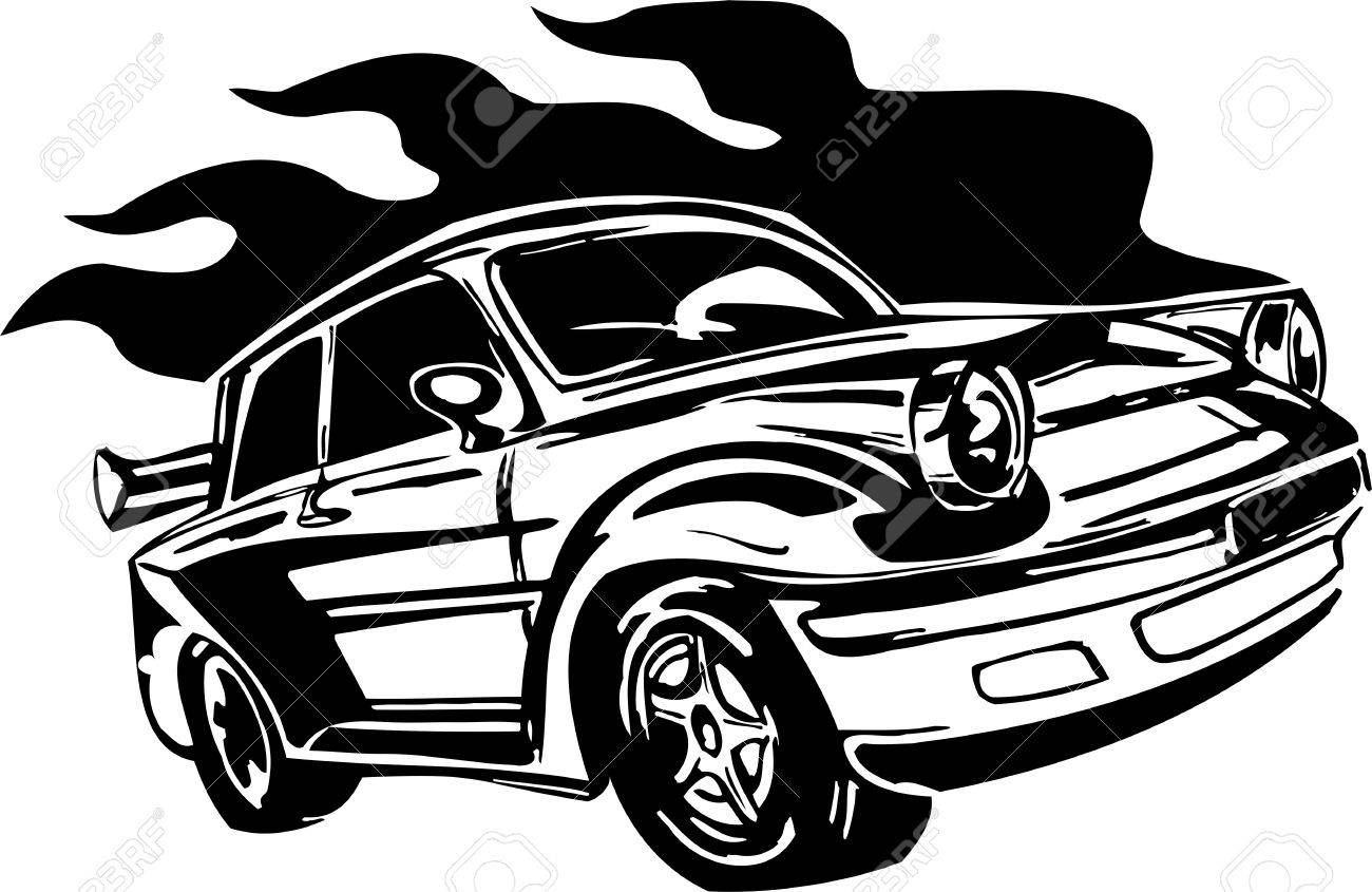 Street Racing Cars. illustration ready for vinyl cutting. Stock Vector - 8682501