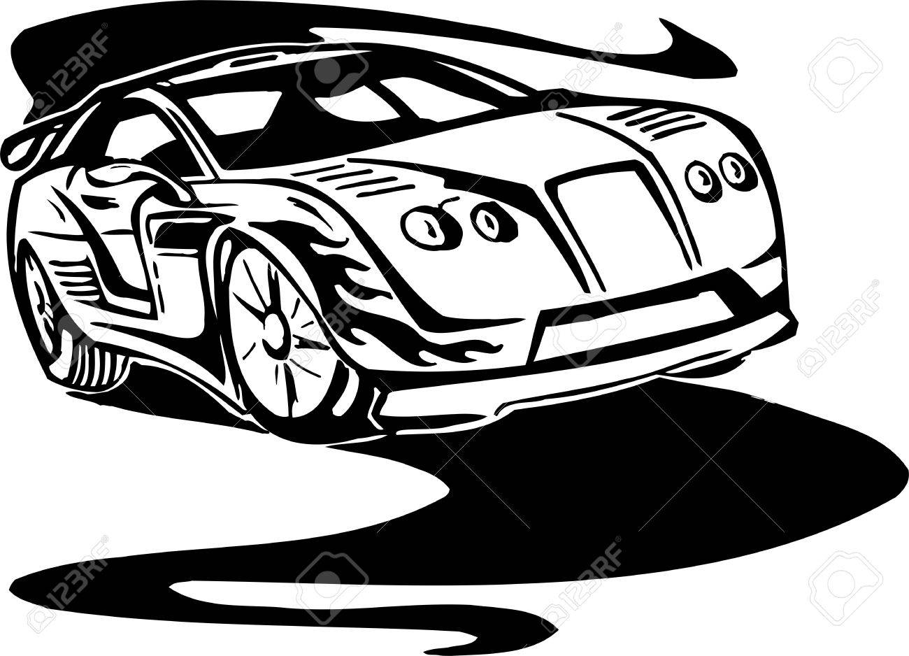 Street Racing Cars. illustration ready for vinyl cutting. Stock Vector - 8682422