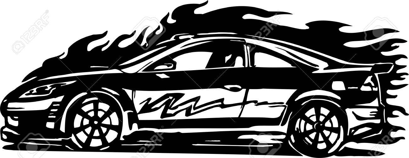 Street Racing Cars.  illustration ready for vinyl cutting. Stock Vector - 8682811