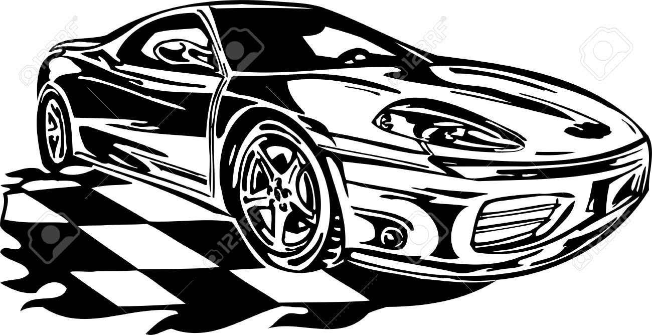Street Racing Cars. illustration ready for vinyl cutting. Stock Vector - 8682411