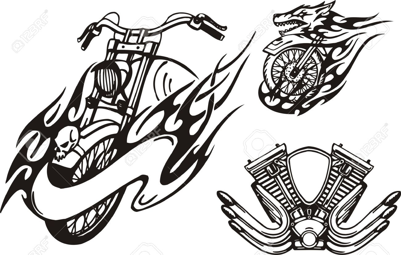 Motorcycle in the form of a wolf and the carburettor. Tribal bikes. Vector illustration ready for vinyl cutting. Stock Vector - 8758271