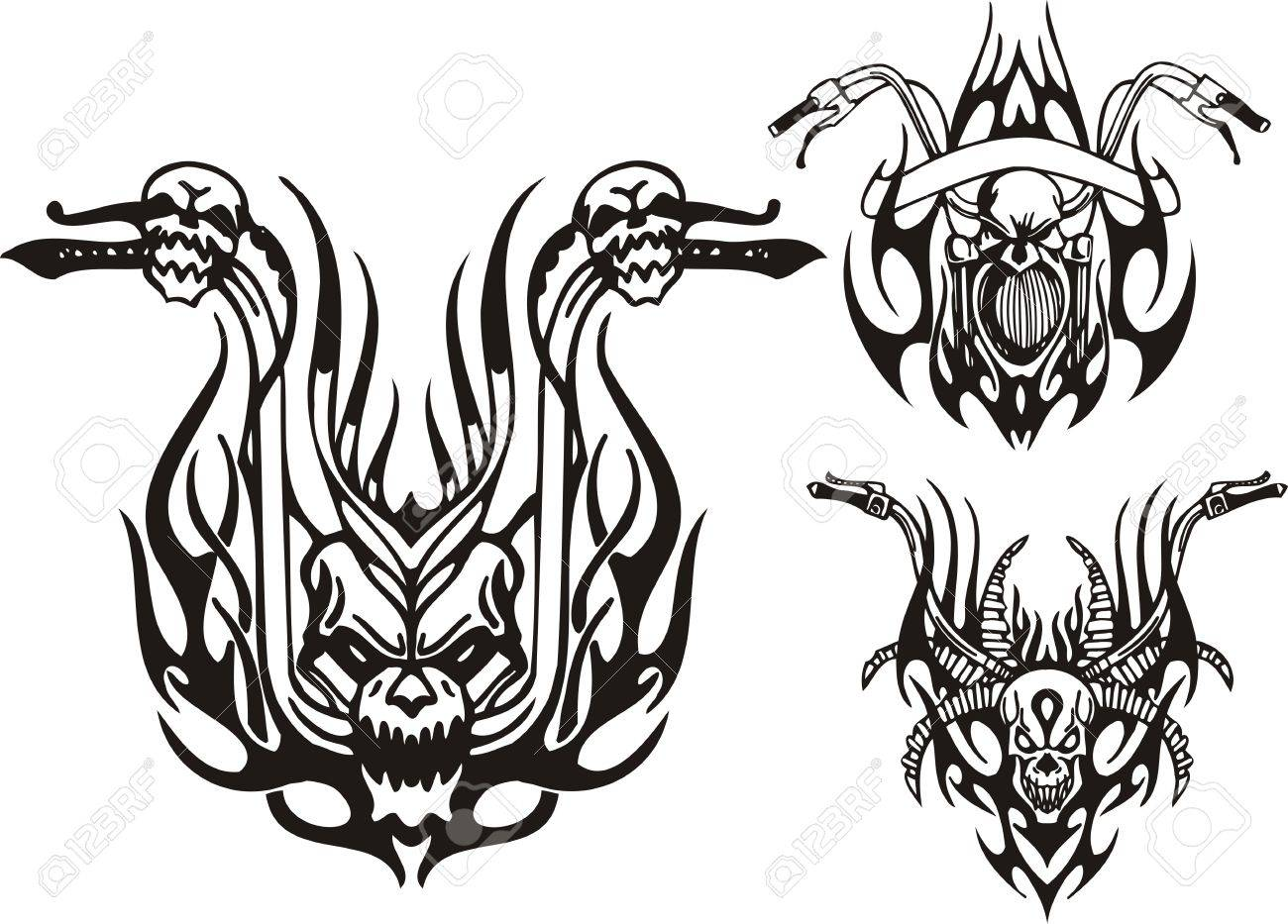 Three wheels of a motorcycle. Tribal bikes. Vector illustration ready for vinyl cutting. Stock Vector - 8758259