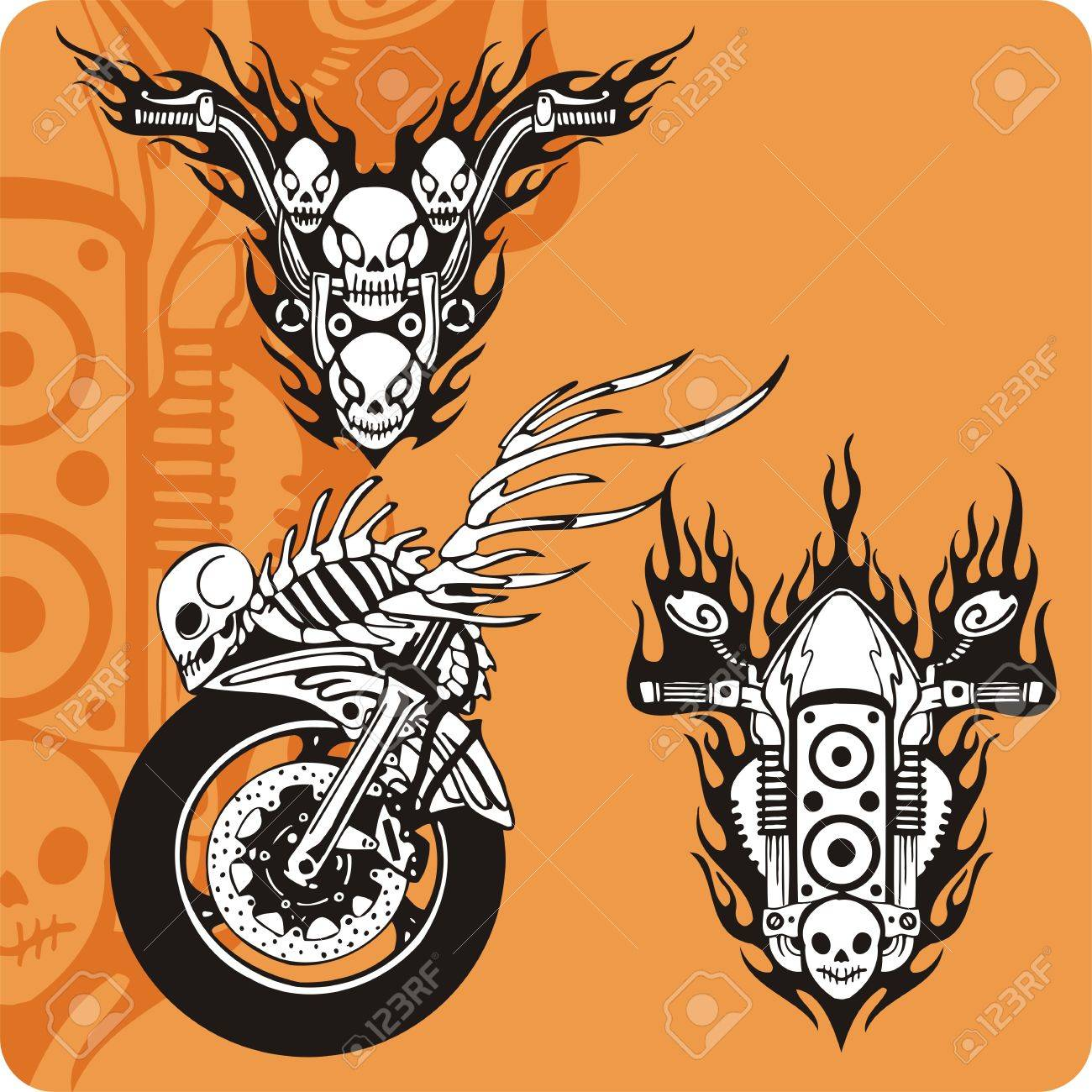 Motorcycle compositions with use of a flame, engines, exhaust