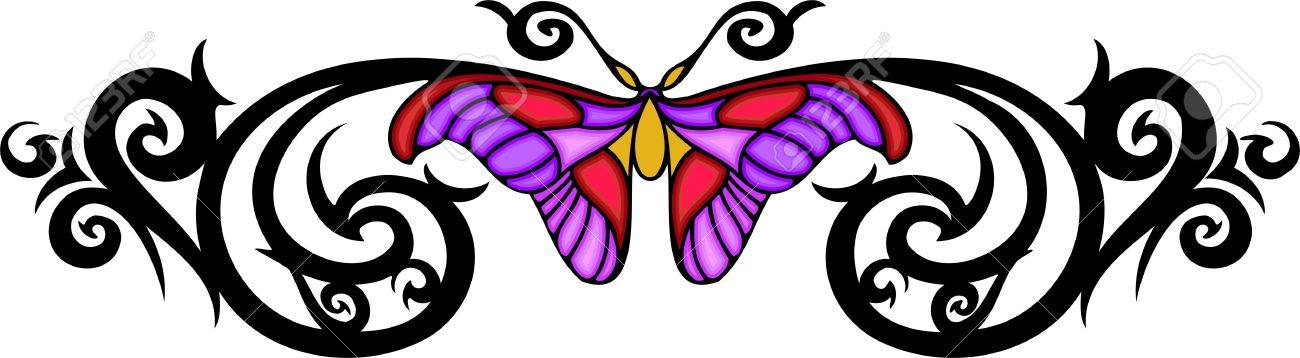 Butterfly Drawings With Color Pink Moth with pink wings in the