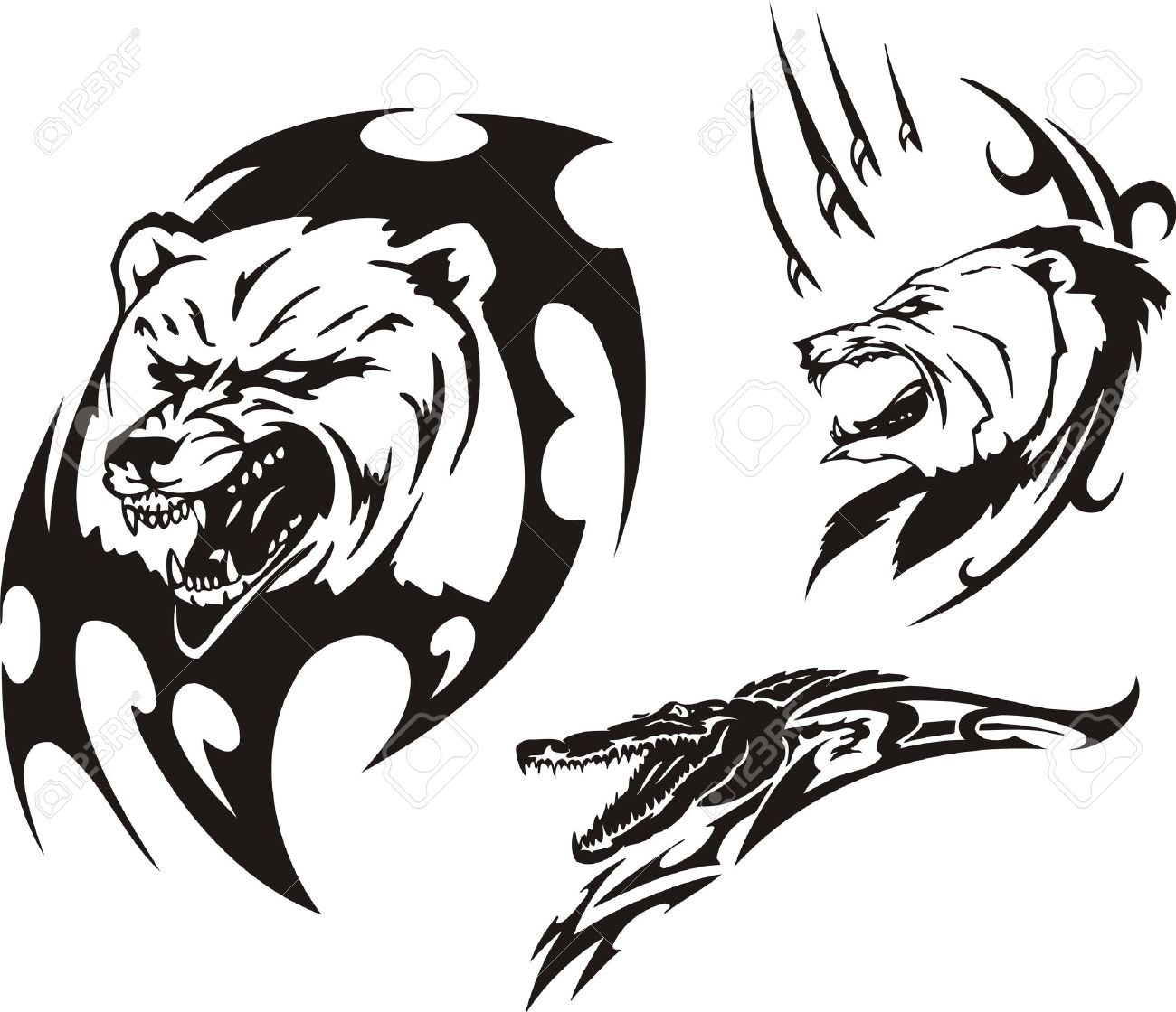 e01a092c736a8 Mouth of a crocodile and two bears. Tribal predators. Vector illustration  ready for vinyl
