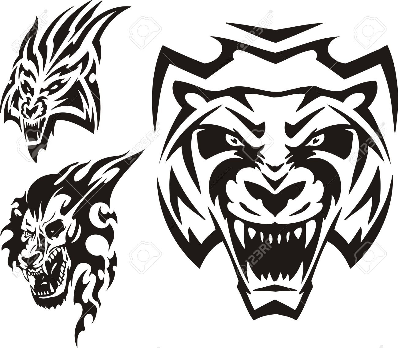 Tiger, lynx and lion. Tribal predators. Vector illustration ready for vinyl cutting. Stock Vector - 8759403
