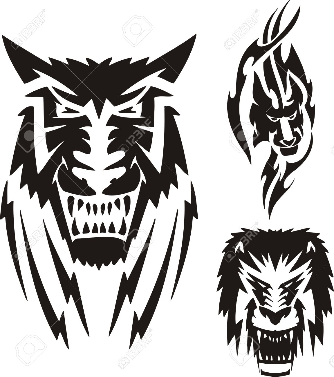 Lion with a black mane, a lioness and a wolf  Tribal predators