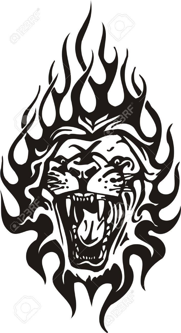 Tribal Predators.Vector illustration ready for vinyl cutting. Stock Vector - 8759497