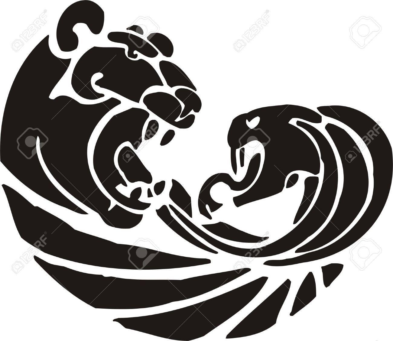Tribal Predators.Vector illustration ready for vinyl cutting. Stock Vector - 8759689