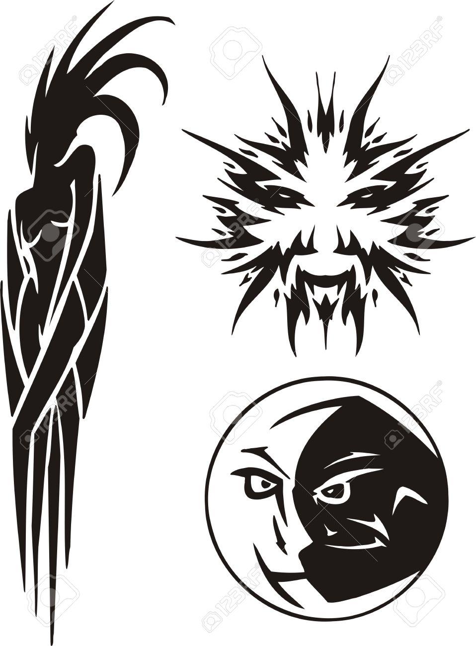 El Virgo El Sol Y La Luna Imágenes Prediseñadas Tribales