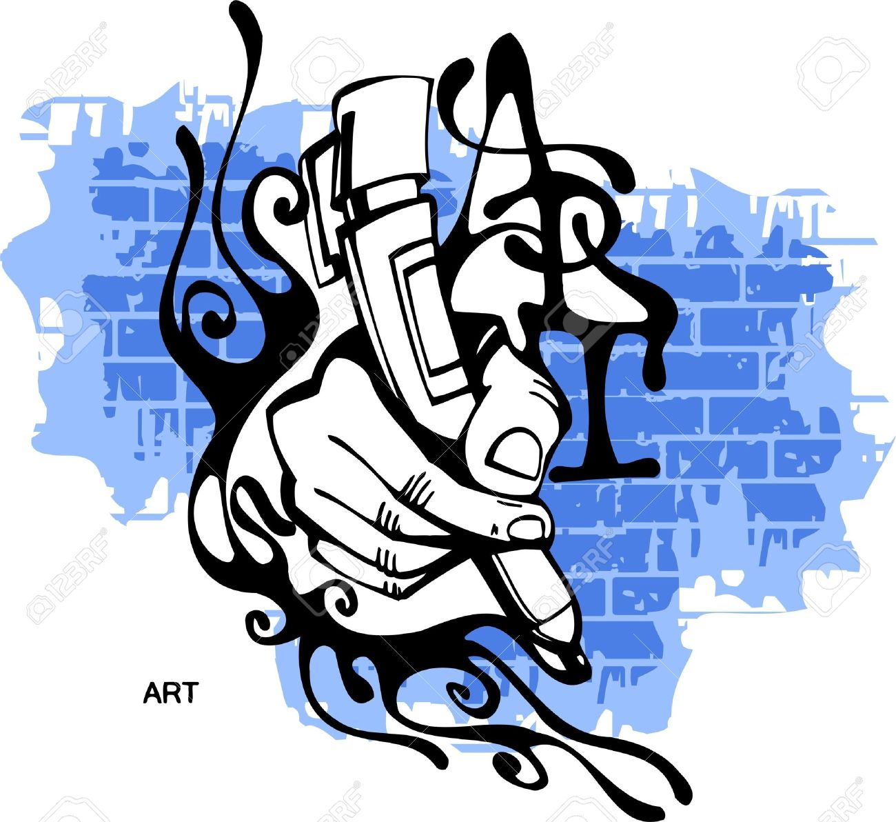 graffiti hand end marker vector illustration vinyl ready royalty rh 123rf com graffiti vector wall graffiti vector font