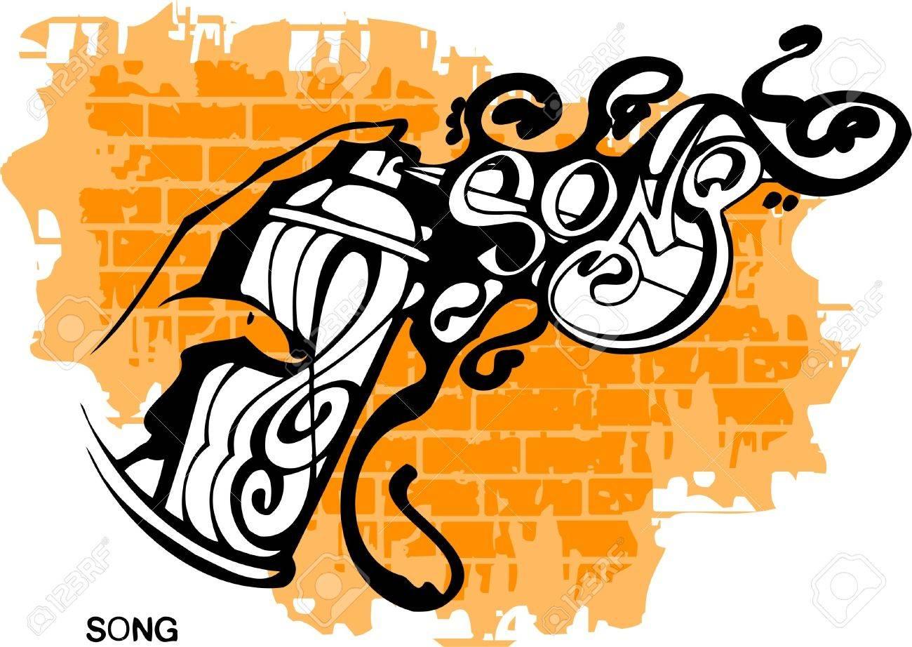 Graffiti - Song end Hand.Vector Illustration. Vinyl-Ready. Stock Vector - 8759184