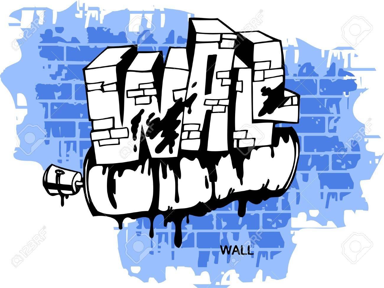 Graffiti wall vinyl - Graffiti Wall And Spray Vector Illustration Vinyl Ready Stock Vector