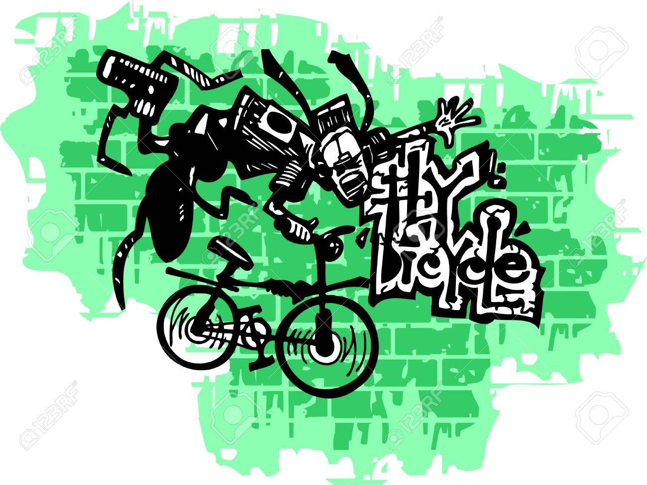 Graffiti -Teenager end Bicycle.Vector Illustration. Vinyl-Ready. Stock Vector - 8759108