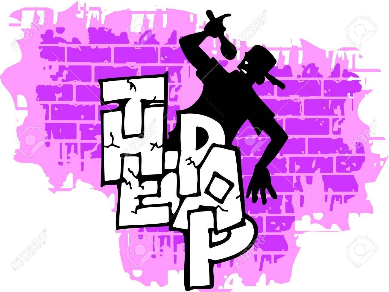 Graffiti wall vinyl - Graffiti Wall And Silhouette Vector Illustration Vinyl Ready Stock Vector