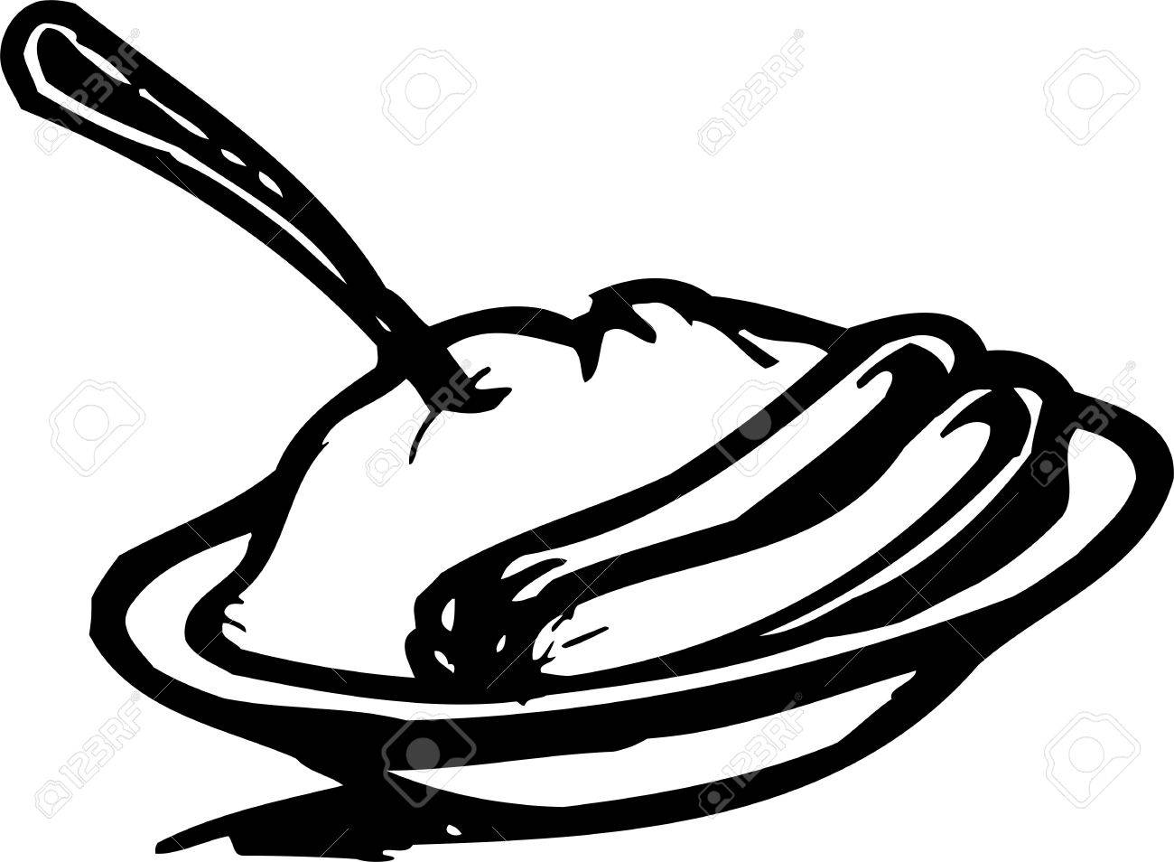 Sausages and mashed potatoes.FastFood.Vector illustration ready for vinyl cutting. Stock Vector - 8758755
