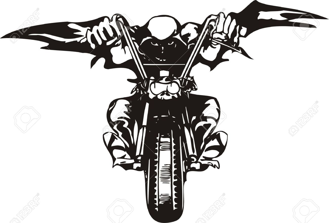 Biker on Motorcycle. Vector Illustration. Stock Vector - 8777139