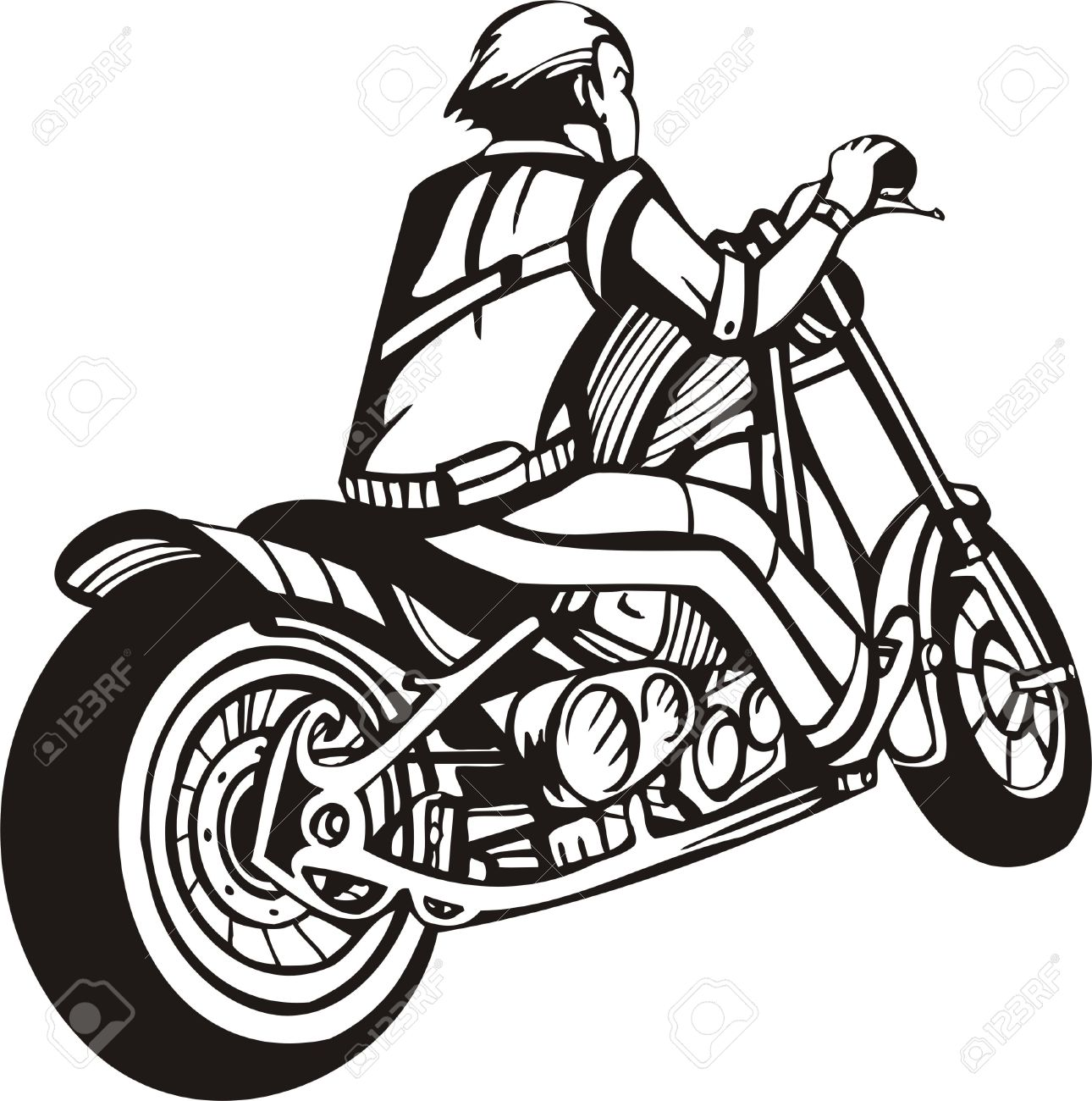 biker on motorcycle vector illustration royalty free cliparts rh 123rf com harley motorcycle vector art motorcycle vector art free download