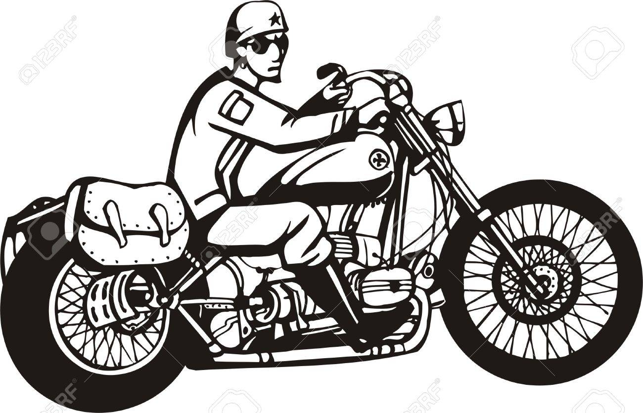 Biker on Motorcycle. Vector Illustration. Stock Vector - 8777479