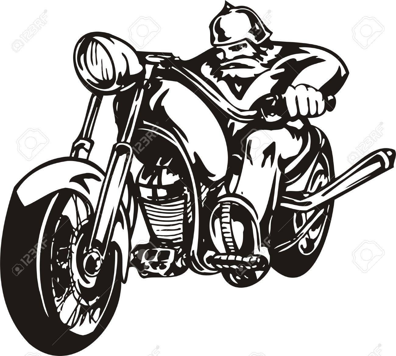 Biker on Motorcycle. Vector Illustration. Stock Vector - 8777347