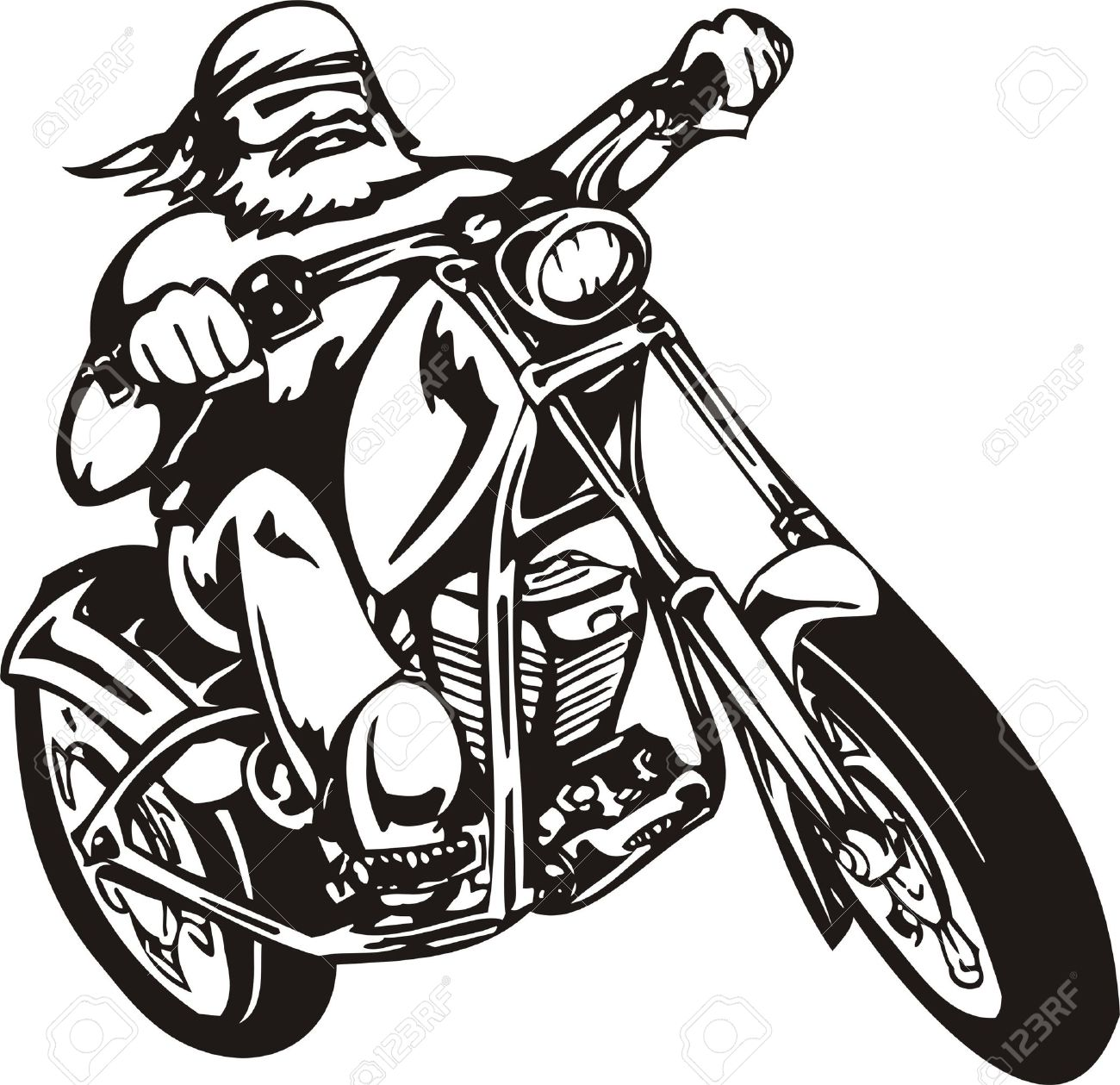 Biker on Motorcycle. Vector Illustration. Stock Vector - 8777311